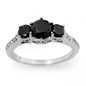 Natural 1.95 Ctw White & Black Diamond Ring 14K Gold