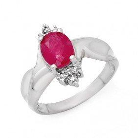 Genuine 1.83 Ctw Ruby & Diamond Ring 10K White Gold