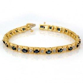 Genuine 6.09 Ctw Blue Sapphire & Diamond Bracelet Gold