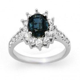 Genuine 3.15 Ctw Sapphire & Diamond Ring 14K White Gold