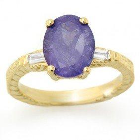 Genuine 3.7ctw Tanzanite & Diamond Ring 10K Yellow Gold