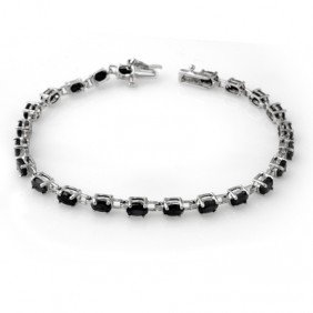 Genuine 9.10 Ctw Sapphire Bracelet 10K White Gold