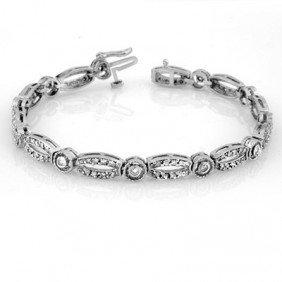 Natural 1.0 Ctw Diamond Bracelet 10K White Gold - L1351