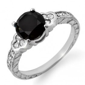 Natural 2.52 Ctw Black & White Diamond Ring 14K White G