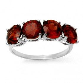 Genuine 3.66 Ctw Garnet Ring 10K White Gold - L90343