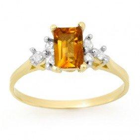 Genuine 1.14 Ctw Citrine & Diamond Ring 10K Yellow Gold