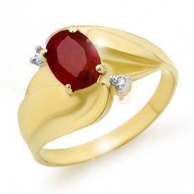 Genuine 1.08 Ctw Ruby & Diamond Ring 10K Yellow Gold -
