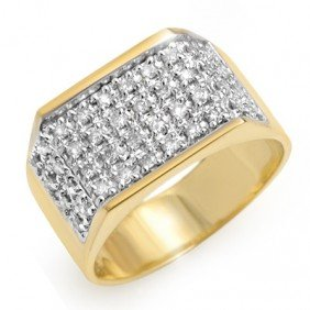 Natural 1.0 Ctw Diamond Men's Ring 14K Yellow Gold
