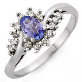 Genuine 0.55ctw Tanzanite & Diamond Ring 10K White Gold