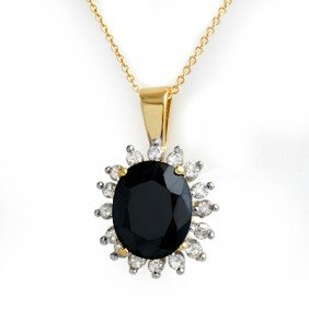 Genuine 5.2 Ctw Sapphire & Diamond Pendant 14k Gold