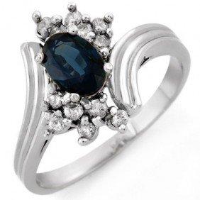Genuine 1.0ctw Blue Sapphire & Diamond Ring 10K Gold