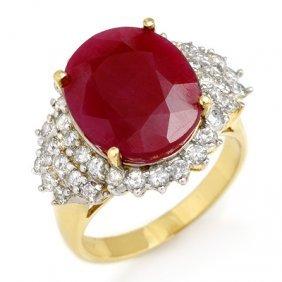 Genuine 8.32 Ctw Ruby & Diamond Ring 14K Yellow Gold