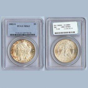 1882-S Morgan Silver Dollar Coin PCGS MS63