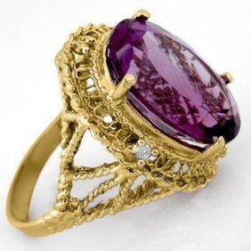 Genuine 13.03ctw Amethyst & Diamond Ring Yellow Gold