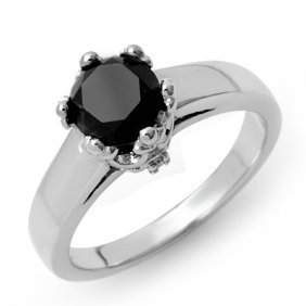 Natural 1.53 Ctw White & Black Diamond Ring 14K Gold