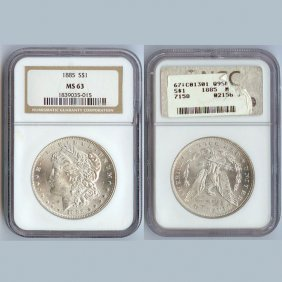 1885-O Morgan Silver Dollar Coin NGC MS63