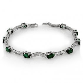 Genuine 4.25 Ctw Emerald & Diamond Bracelet White Gold