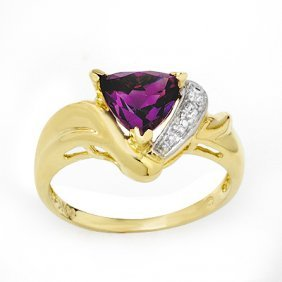 Genuine 1.02ctw Amethyst & Diamond Ring 10K Yellow Gold