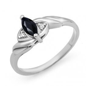 Genuine 0.26 Ctw Sapphire & Diamond Ring 10K White Gold