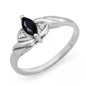 Genuine 0.26 Ctw Sapphire & Diamond Ring 10K White Gold