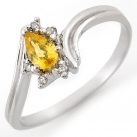 Genuine 0.35ctw Yellow Sapphire & Diamond Ring 10K Gold