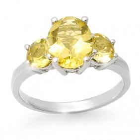 Genuine 2.55 Ctw Citrine Ring 10K White Gold
