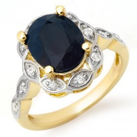 Genuine 4.15 Ctw Sapphire & Diamond Ring 14K Yellow Gol