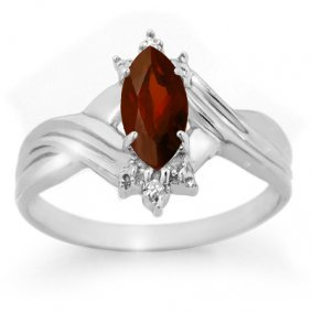 Genuine 0.51 Ctw Garnet & Diamond Ring 10K White Gold