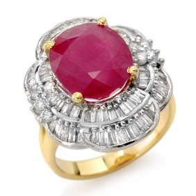 Genuine 5.59 Ctw Ruby & Diamond Ring 14K Yellow Gold