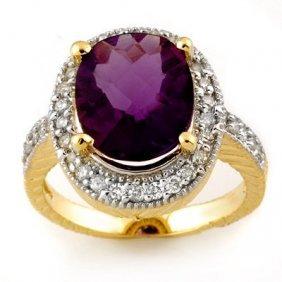 Genuine 5.50ctw Amethyst & Diamond Ring 14K Yellow Gold