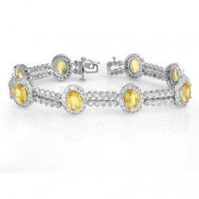 Genuine 17.25 Ctw Sapphire & Diamond Bracelet 14K Gold