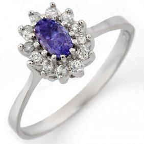 Genuine 0.60ctw Tanzanite & Diamond Ring 14K White Gold