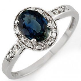 Genuine 1.35 Ctw Blue Sapphire & Diamond Ring 10K White