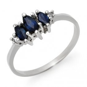 Genuine 0.66 Ctw Sapphire & Diamond Ring 10K White Gold