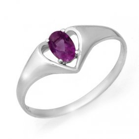 Genuine 0.21 Ctw Amethyst Ring 10K White Gold