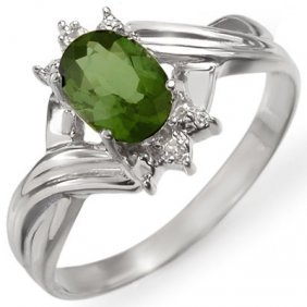Genuine 0.79 Ctw Green Tourmaline & Diamond Ring Gold
