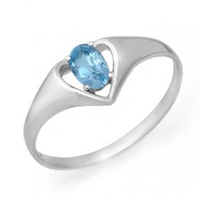 Genuine 0.25 Ctw Blue Topaz Ring 10K White Gold