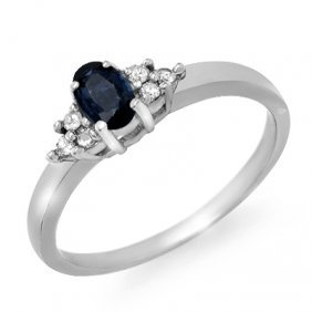 Genuine 0.42 Ctw Sapphire & Diamond Ring 10K White Gold