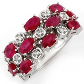 Genuine 3.2 Ctw Ruby & Diamond Ring 10K White Gold