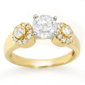 Natural 1.38 Ctw Diamond Ring 14K Yellow Gold