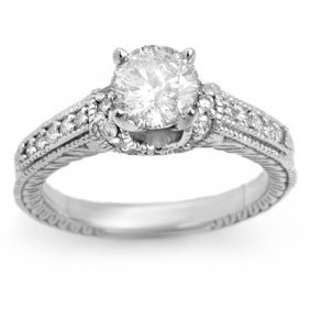Natural 1.50 Ctw Diamond Ring 14K White Gold