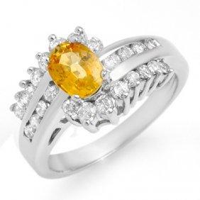 Genuine 1.77ctw Yellow Sapphire & Diamond Ring 14K Gold