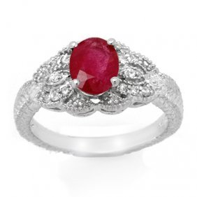 Genuine 2.10 Ctw Ruby & Diamond Ring 14K White Gold