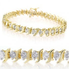 Natural 4.0 Ctw Diamond Bracelet 10K Yellow Gold