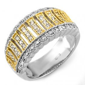 Natural 0.65 Ctw Diamond Bridal Ring 10K 2tone Gold
