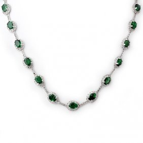 Genuine 21.0 Ctw Emerald & Diamond Necklace White Gold