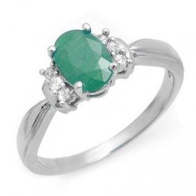 Genuine 0.96 Ctw Emerald & Diamond Ring 10K White Gold