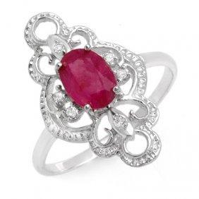Genuine 1.35 Ctw Ruby & Diamond Ring 10K White Gold