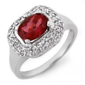 Genuine 1.90ctw Rubellite & Diamond Ring 14K White Gold