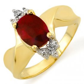 Genuine 1.79 Ctw Ruby & Diamond Ring 10K Yellow Gold